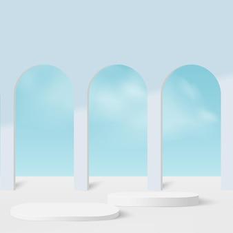 Abstracte achtergrond met blauwe geometrische 3d podia van de hemelkleur.