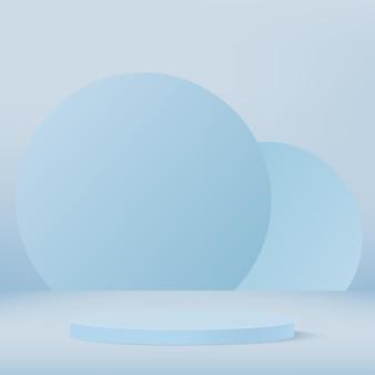 Abstracte achtergrond met blauwe geometrische podia. .