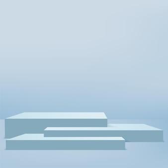 Abstracte achtergrond met blauwe kleuren geometrische 3d podia.