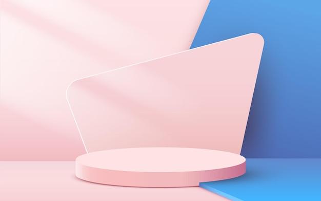 Abstracte achtergrond met cirkelvormig podium met bladeren op roze en blauw