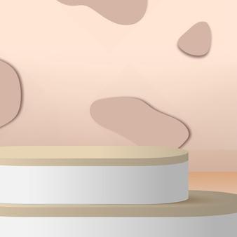 Abstracte achtergrond met crème kleur geometrische 3d podia. vector illustratie.