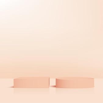 Abstracte achtergrond met crème kleur geometrische 3d podia. vector illustratie