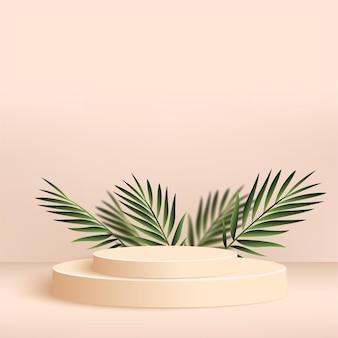 Abstracte achtergrond met crème kleur geometrische 3d podia.