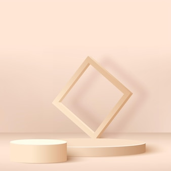Abstracte achtergrond met crème kleur geometrische podia.