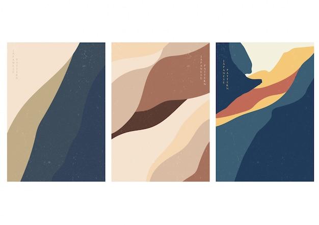 Abstracte achtergrond met curve-elementen. landschapsmalplaatje met grungetextuur.
