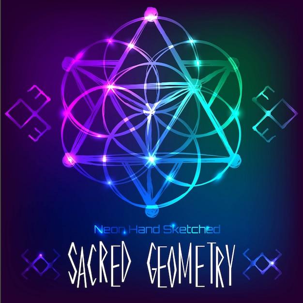 Abstracte achtergrond met de hand getekende heilige geometrie neonlicht vector illustratie