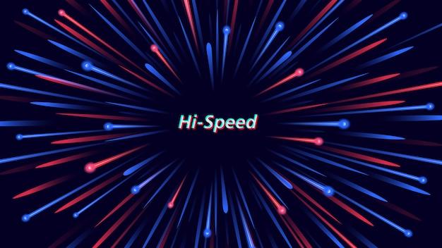 Abstracte achtergrond met deeltjes die met hoge snelheid uitbreken.