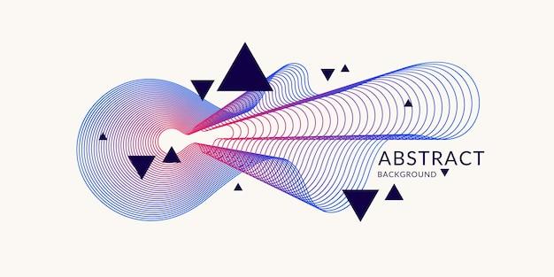 Abstracte achtergrond met dynamische lineaire golven. vectorillustratie in platte minimalistische stijl