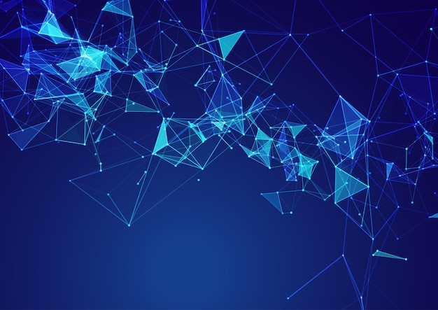 Abstracte achtergrond met een laag poly netwerkcommunicatie-ontwerp