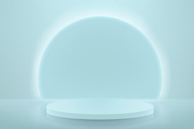 Abstracte achtergrond met een voetstuk in een minimalistische stijl. leeg podium voor productdemonstratie met neonverlichting.