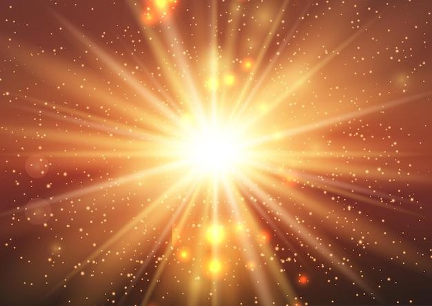 Abstracte achtergrond met een zonnestraalontwerp met fonkelende lichtjes