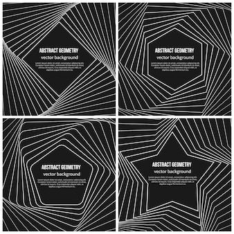 Abstracte achtergrond met eenvoudige geometrische vormen in lineaire stijl. pentagon en ruit, ster en zeshoekige vorm