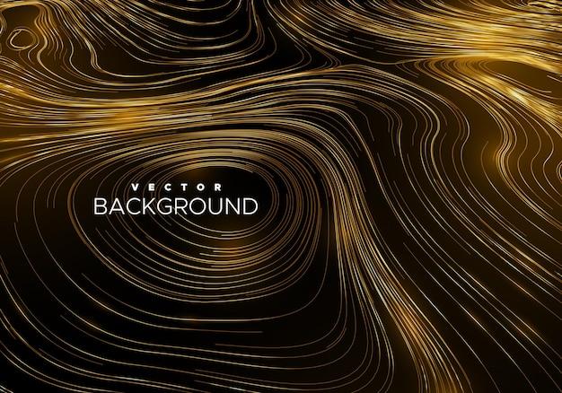 Abstracte achtergrond met gekrulde lineaire gouden patroon