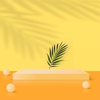 Abstracte achtergrond met gele geometrische 3d podia