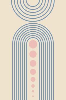 Abstracte achtergrond met geometrische vormen en regenbooglijnen in boho-stijl