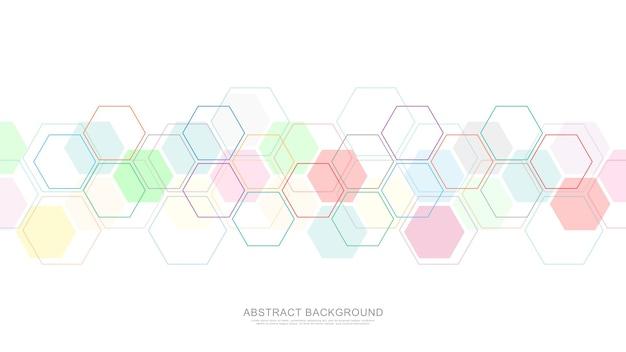 Abstracte achtergrond met geometrische vormen en zeshoek.