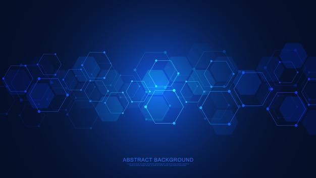 Abstracte achtergrond met geometrische vormen en zeshoekig patroon. geneeskunde, technologie of wetenschappelijk ontwerp.