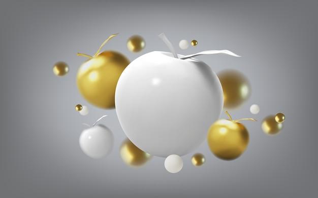Abstracte achtergrond met gouden appel en metalen bollen, vooraanzicht. sjabloon voor producten, reclame, webbanners