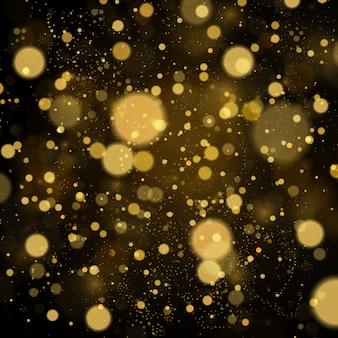 Abstracte achtergrond met gouden bokeh-effect. stofdeeltjes.
