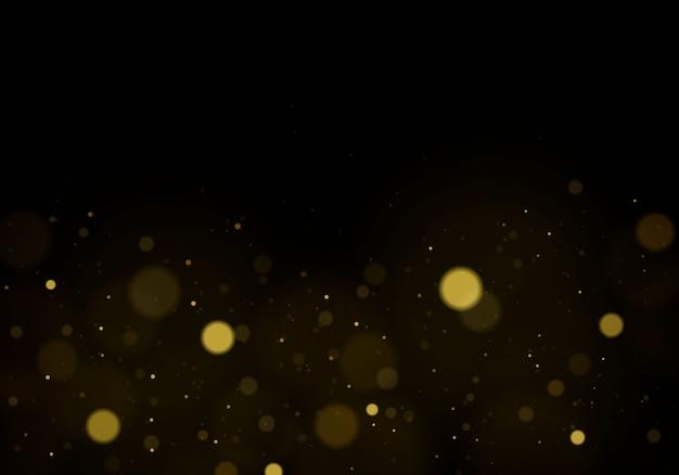 Abstracte achtergrond met gouden bokeh-effect, stofdeeltjes.