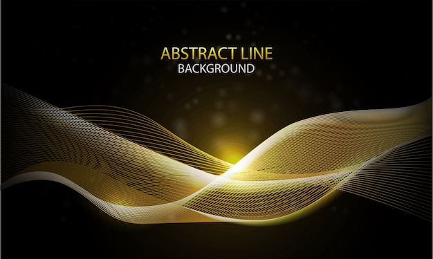 Abstracte achtergrond met gouden dynamische lineaire golven op donkere achtergrond