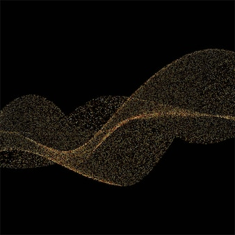 Abstracte achtergrond met gouden glitters stijlvolle golf op zwarte achtergrond