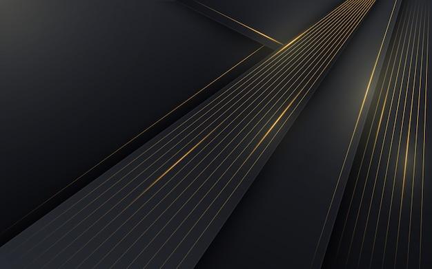 Abstracte achtergrond met gouden lijnen. compositie met verschillende vormen