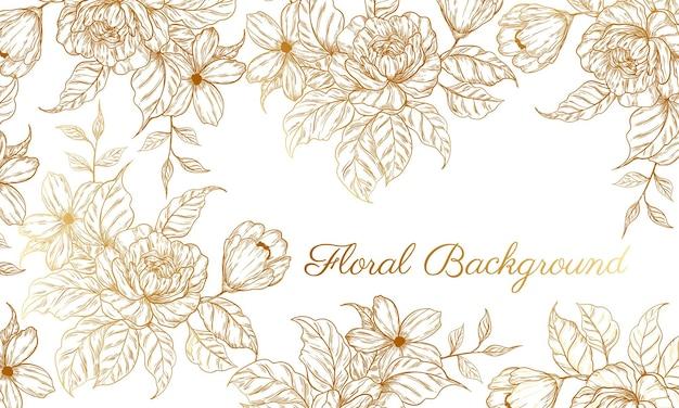 Abstracte achtergrond met handgetekende gouden bloem