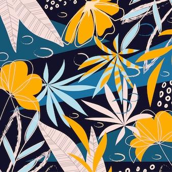 Abstracte achtergrond met heldere tropische planten en bladeren