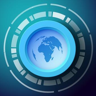 Abstracte achtergrond met het silhouet van de wereldkaart op ronde vorm