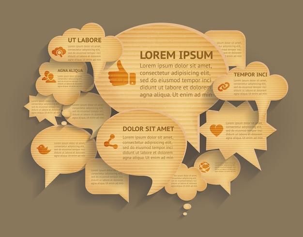Abstracte achtergrond met kartondocument toespraakbellen. kartonnen papier spraak bubbels bericht praten, nota label, denk communicatie. kartonnen bubbels vector illustratie