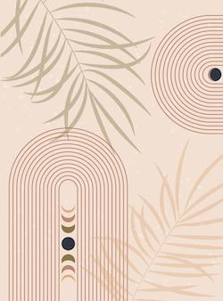 Abstracte achtergrond met maanstanden lange regenboog aardetinten terracotta kleuren boho wanddecoratie