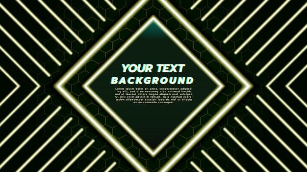 Abstracte achtergrond met met neonlicht in diamantvierkant en lijn.