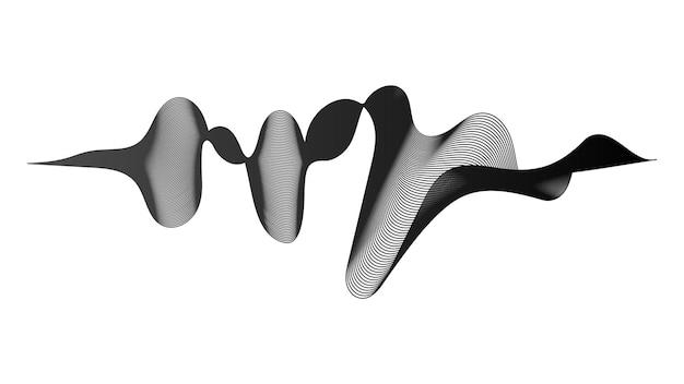 Abstracte achtergrond met monochrome golfverlooplijnen op witte achtergrond. moderne technische achtergrond, golfontwerp. vector illustratie