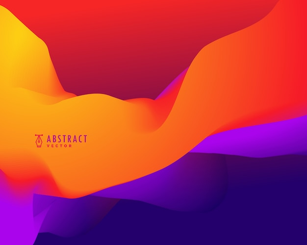 Abstracte achtergrond met oranje en blauwe 3d golvende vormen