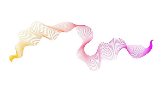 Abstracte achtergrond met oranje en roze golfgradiëntlijnen op witte achtergrond. moderne technische achtergrond, golfontwerp. vector illustratie