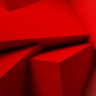 Abstracte achtergrond met overlappende rode kubussen