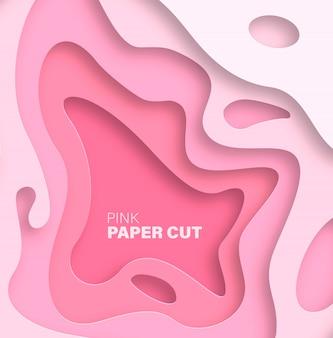 Abstracte achtergrond met papier gesneden vormen. roze trendkleur