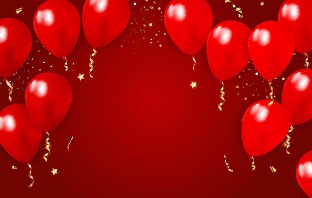 Abstracte achtergrond met realistische rode ballonnen confetti