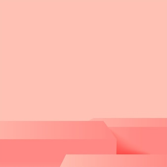 Abstracte achtergrond met roze geometrische 3d podia