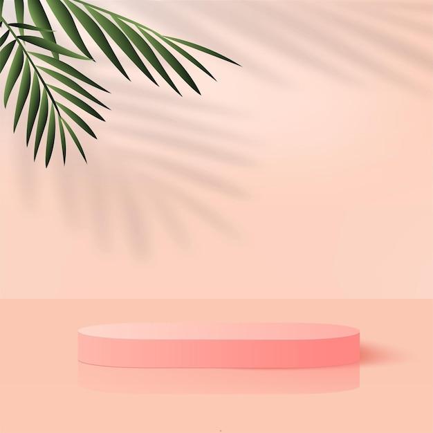 Abstracte achtergrond met roze kleur geometrische 3d podia. vector illustratie.