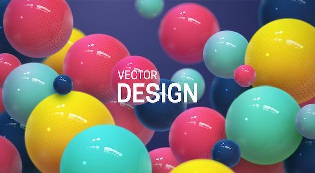 Abstracte achtergrond met veelkleurige 3d-bollen of bubbels