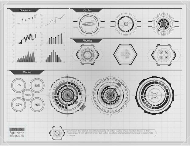 Abstracte achtergrond met verschillende elementen van de hud. hud-elementen, grafiek. head-up display-elementen voor infographic-elementen.