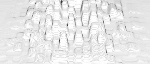 Abstracte achtergrond met vervormde lijnvormen op witte achtergrond.
