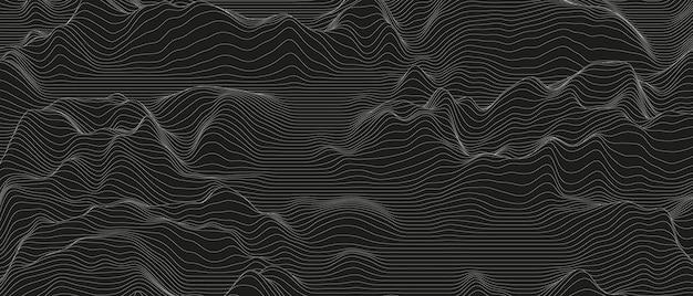Abstracte achtergrond met vervormde lijnvormen op zwart