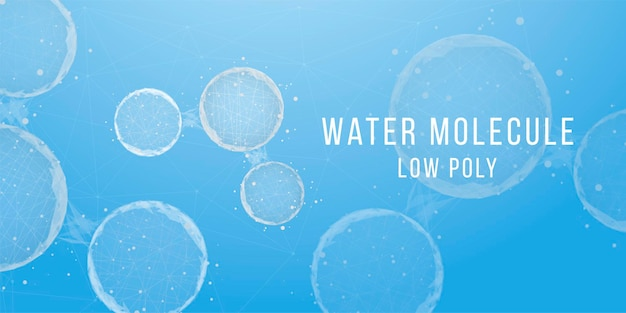 Abstracte achtergrond met watermoleculen. laag poly wireframe-stijl. wetenschap, biotechnologie, chemie, medisch concept. vector illustratie.