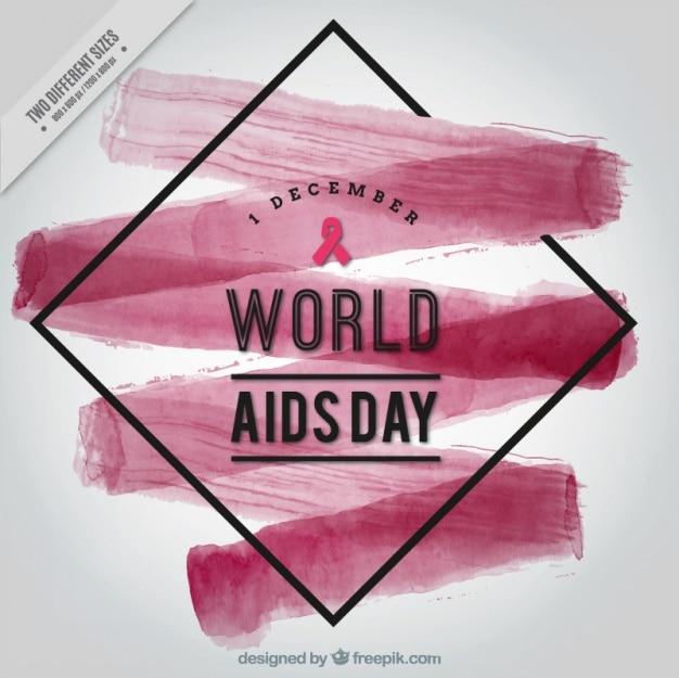 Abstracte achtergrond met waterverf penseelstreek van wereld aids dag