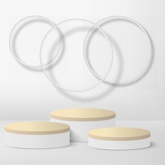 Abstracte achtergrond met witte geometrische 3d podia