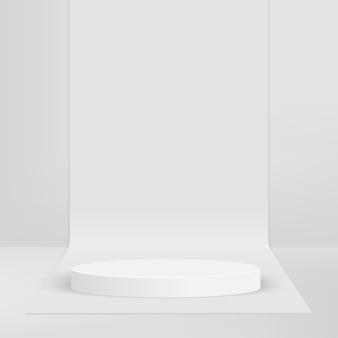 Abstracte achtergrond met witte kleur geometrische 3d podium