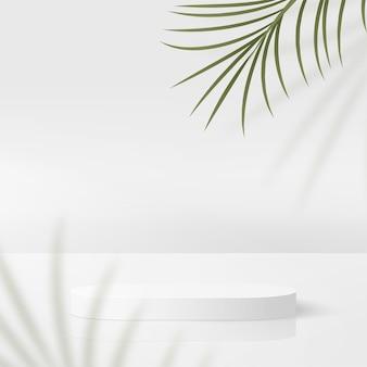Abstracte achtergrond met witte kleuren geometrische 3d podia.